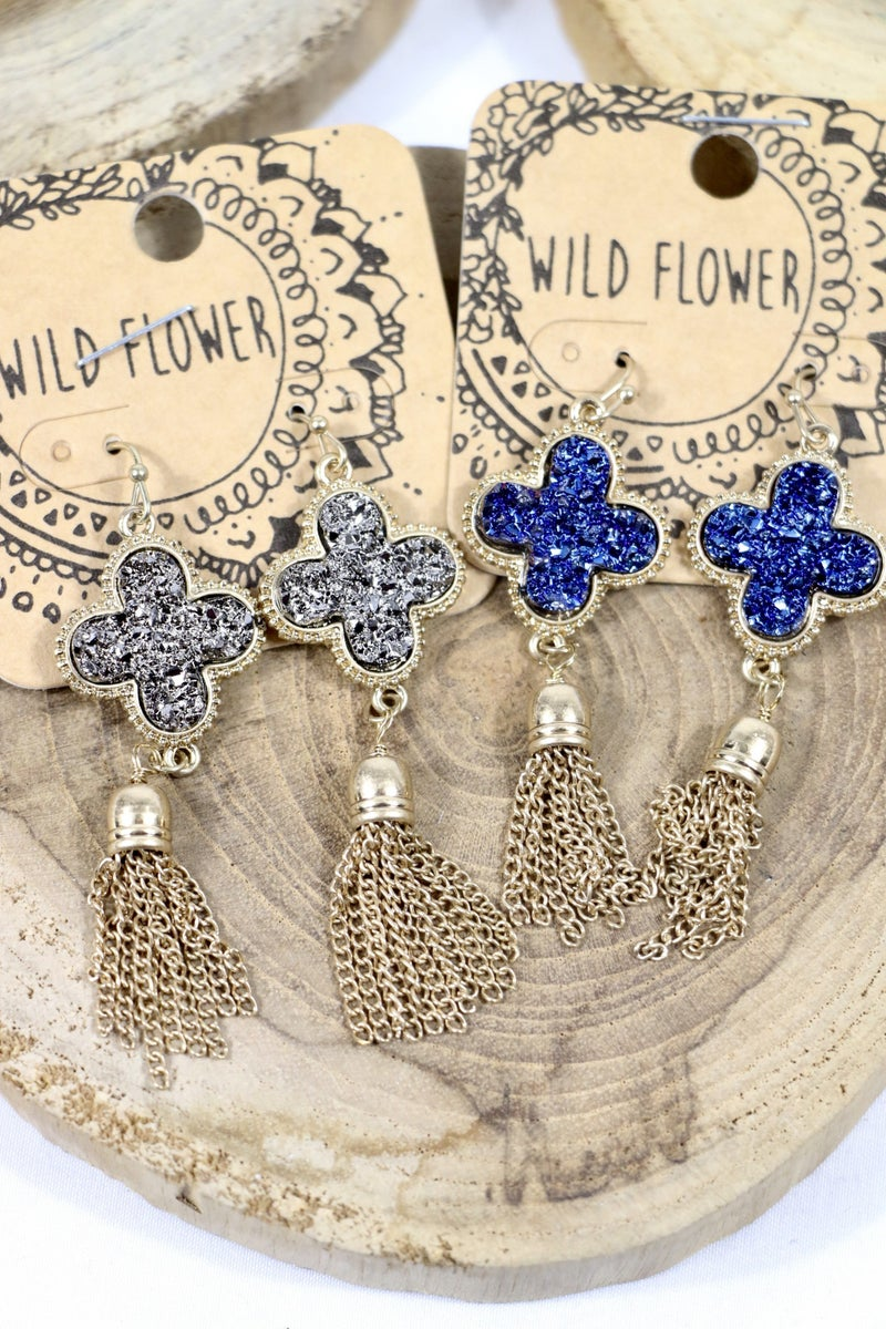 All Mine Druzy Clover Earring With Chain Tassels In Multiple Colors