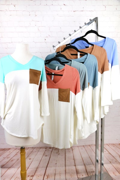 The Best Day Long Sleeve Colorblock Top with Suede Accent Pocket and Elbow Patches in Multiple Colors  - Sizes 4-20