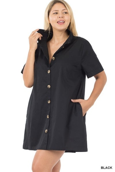 Pretty Woman Button Up Collar Dress In Black- Sizes 12-20