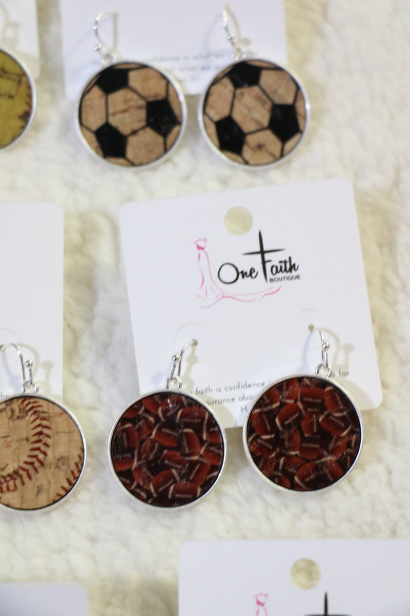 Whatever Sport You Play Circle Cork Earrings - Multiple Choices