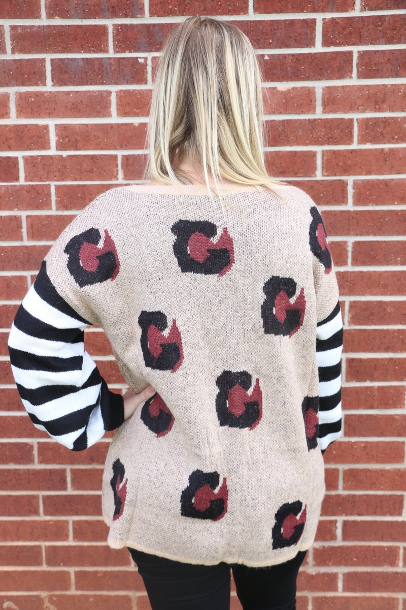 My Own Hero Leopard Sweater with Striped Accent Sleeve - Sizes 4-18