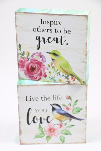 Signs Of Spring Inspirational Bird Block Sign In Multiple Sayings