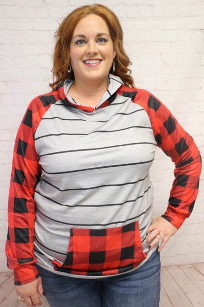 Look Again Gray Striped Hoodie with Buffalo Check Accents - Sizes 4-20