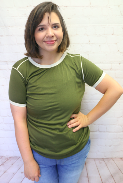 Forever Happy Olive Short Sleeve Top with Ivory Accents - Sizes 4-20