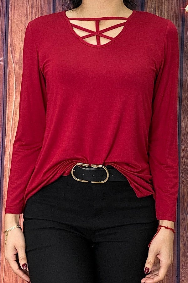 Simply the Best Long Sleeve Top with Criss Cross Neck Line in Multiple Colors - Sizes 4-10