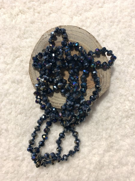 Point Of Perfection Beaded Necklace In Metallic Blue