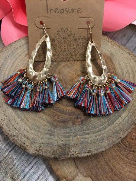 Gold Teardrop Earrings with Fall Colored Tassels
