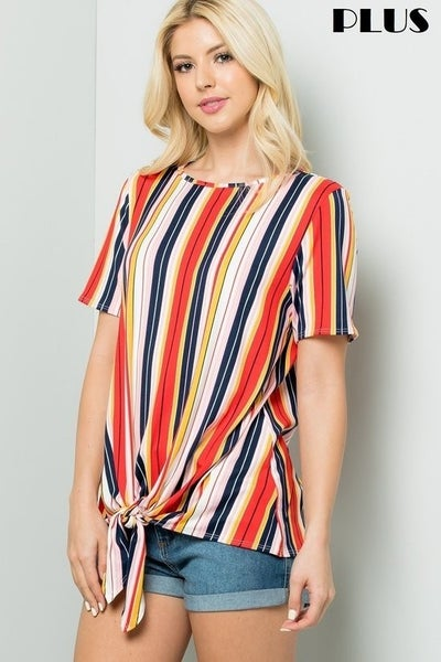 Keep On Your Toes Vertical Striped Top with Knotted Front - Sizes 12-20
