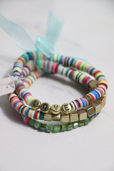 Invested In You 3 Strand Multicolor Rubber Disc Gold Bead And Crystal Stretch Bracelet