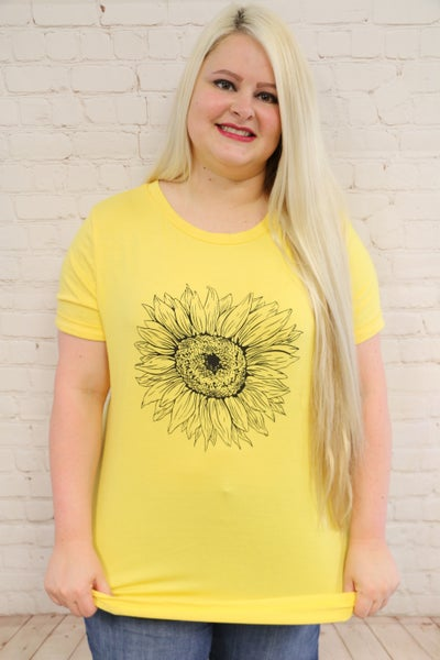 Oh So Happy Sunflower Tee in Yellow - Sizes 4-20