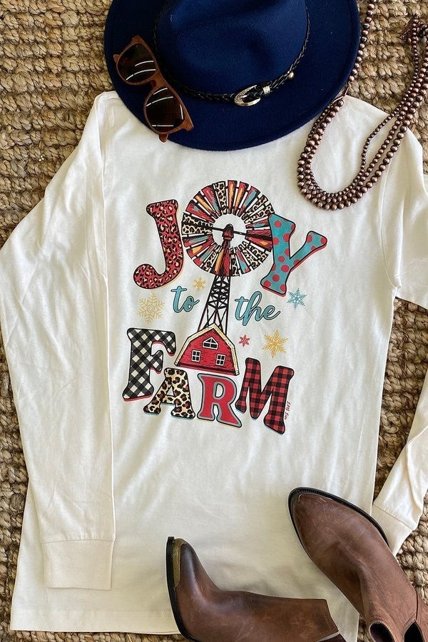 Joy to the Farm Leopard and Buffalo Check Graphic Long Sleeved Tee - Sizes 4-20