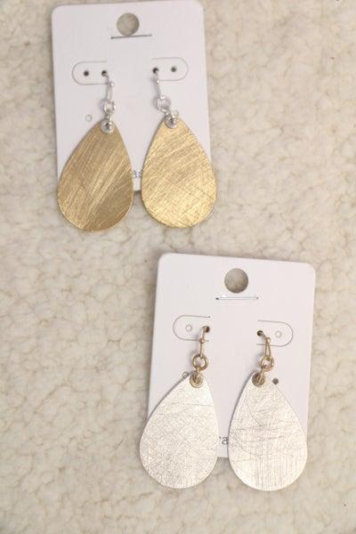 Lazy Days Brushed Metal Teardrop Earring In Multiple Colors