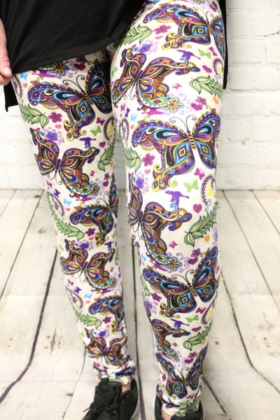 Beautiful Morning Ivory Legging with Butterfly Pattern-Sizes-4-20