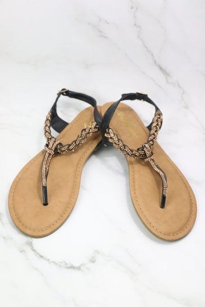 Glamorized Gem Beaded Sandal In Black & Copper- Sizes 5.5-10