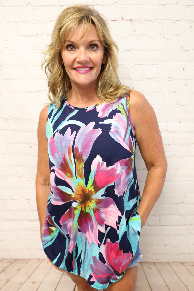 Walk Among the Flowers Navy Floral Sleeveless Top - Sizes 4-20