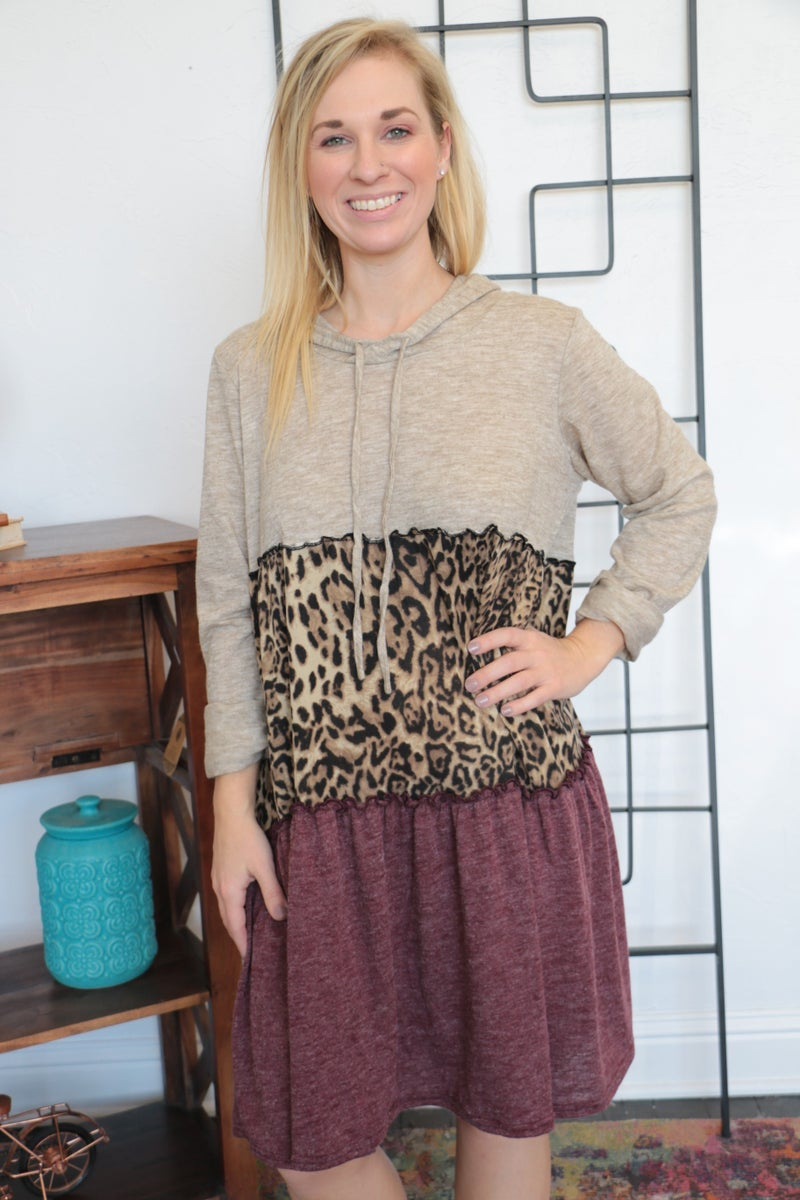 Saving All My Love Leopard Colorblock Dress - Sizes 4-20