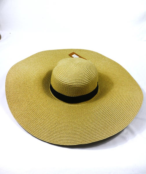 Be Bold Extra Large Straw Floppy Hat With Black Band