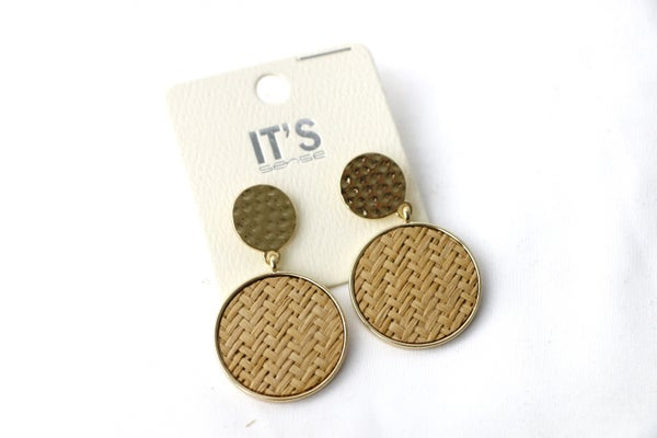 Even Now Metal And Woven Disc Earring