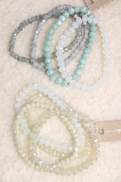 All The Days 4 Strand Crystal Bead Stretch Bracelet In Multiple Colors