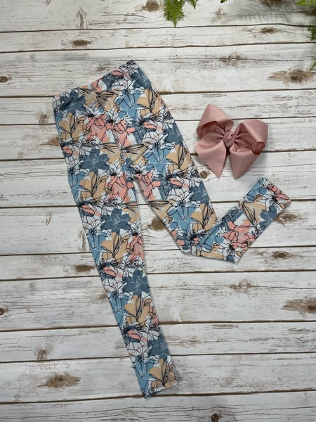 Floral Beauty Girl's Legging And Hairbow Bundle - Sizes S-XL