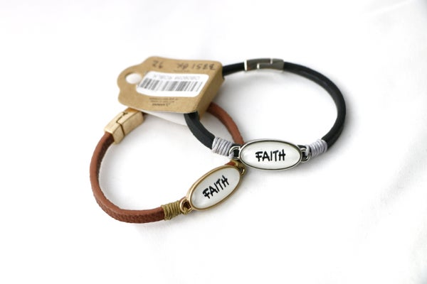 All The Time FAITH Leather Strap Bracelet With Magnetic Closure In Multiple Colors