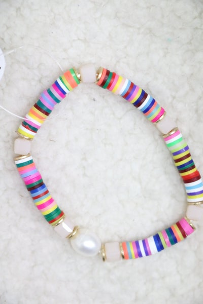Rainbow Rubber Disc Stretch Bracelet With Pearl Detail