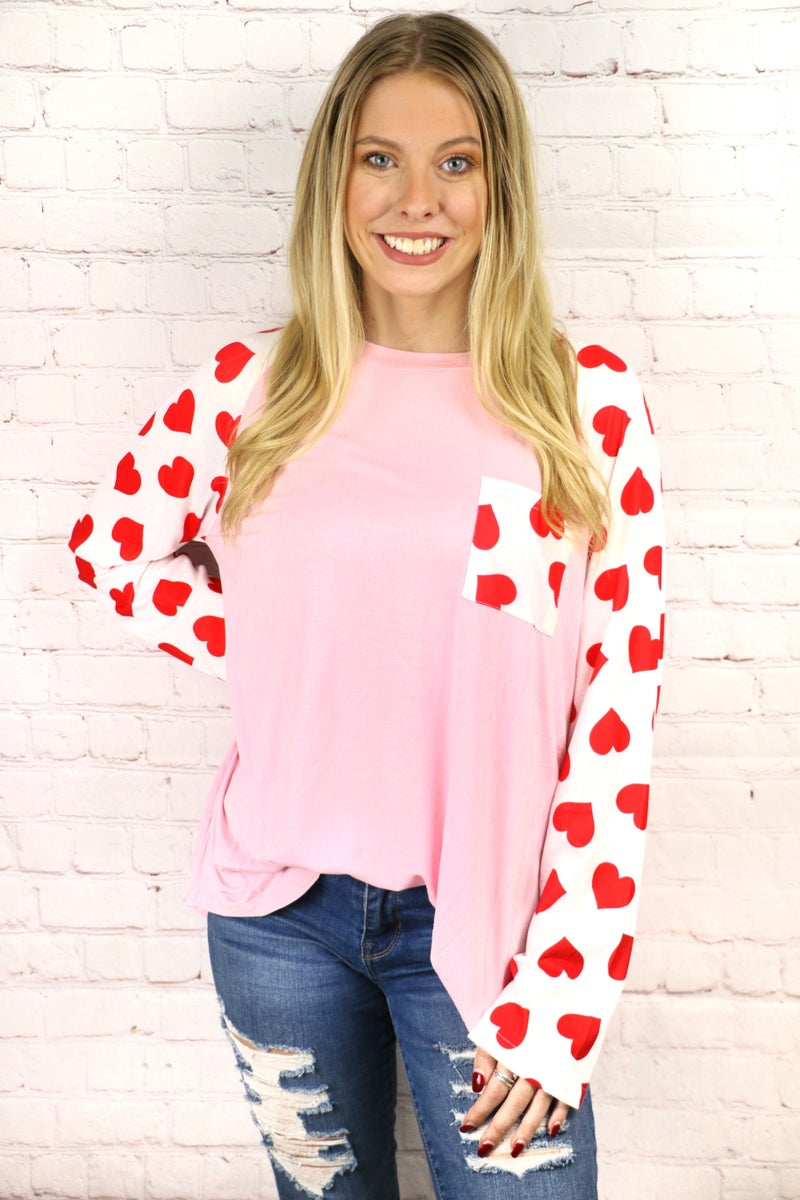 Always Choose Love Pink Raglan with Red Heart Accent Pocket and Sleeve - Sizes 4-20
