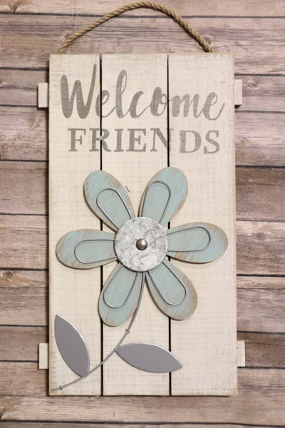 Welcome Friends Wooden Shiplap Flower Sign