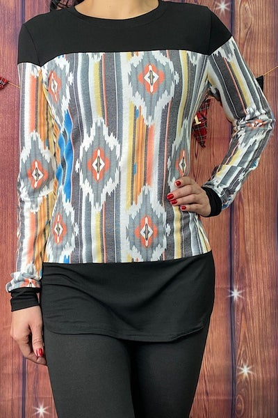It's a Beautiful Day Serape Colorblock Long Sleeve Top - Sizes 4-18