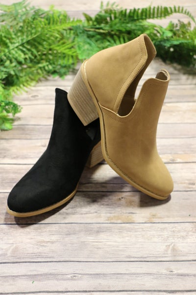 Beautiful Day Suede Bootie with Side Slit in Multiple Colors-Sizes-7-11