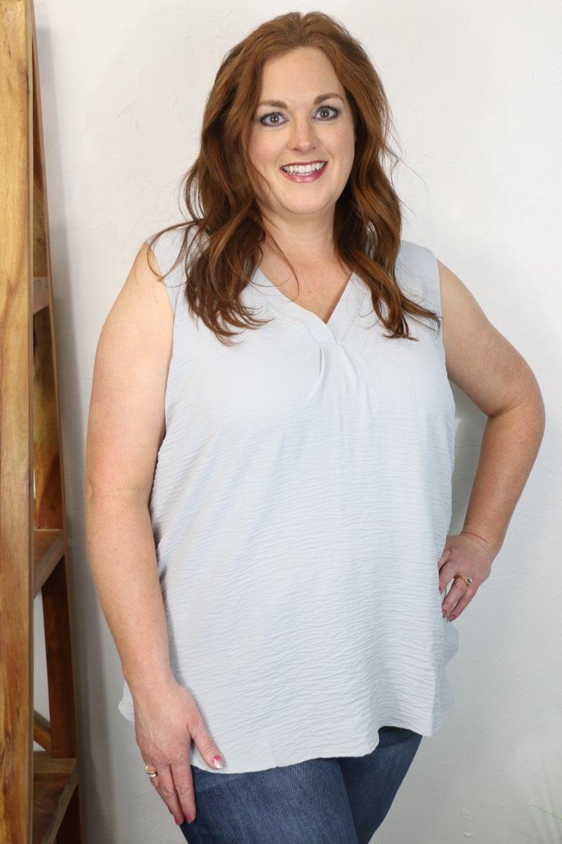 Working Together Crinkle V-Neck Sleeveless Top in Multiple Colors - Sizes 4-12