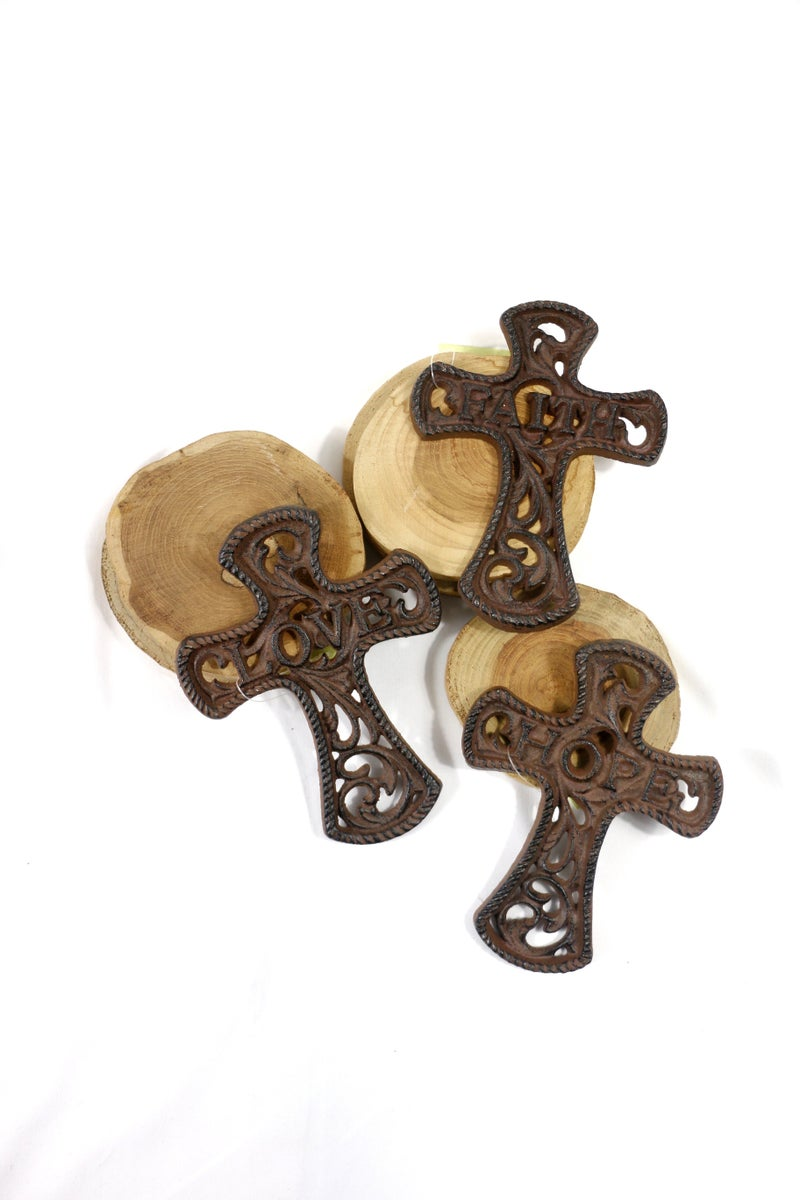Of The Faith Metal Scrollwork Cross With Various Sayings