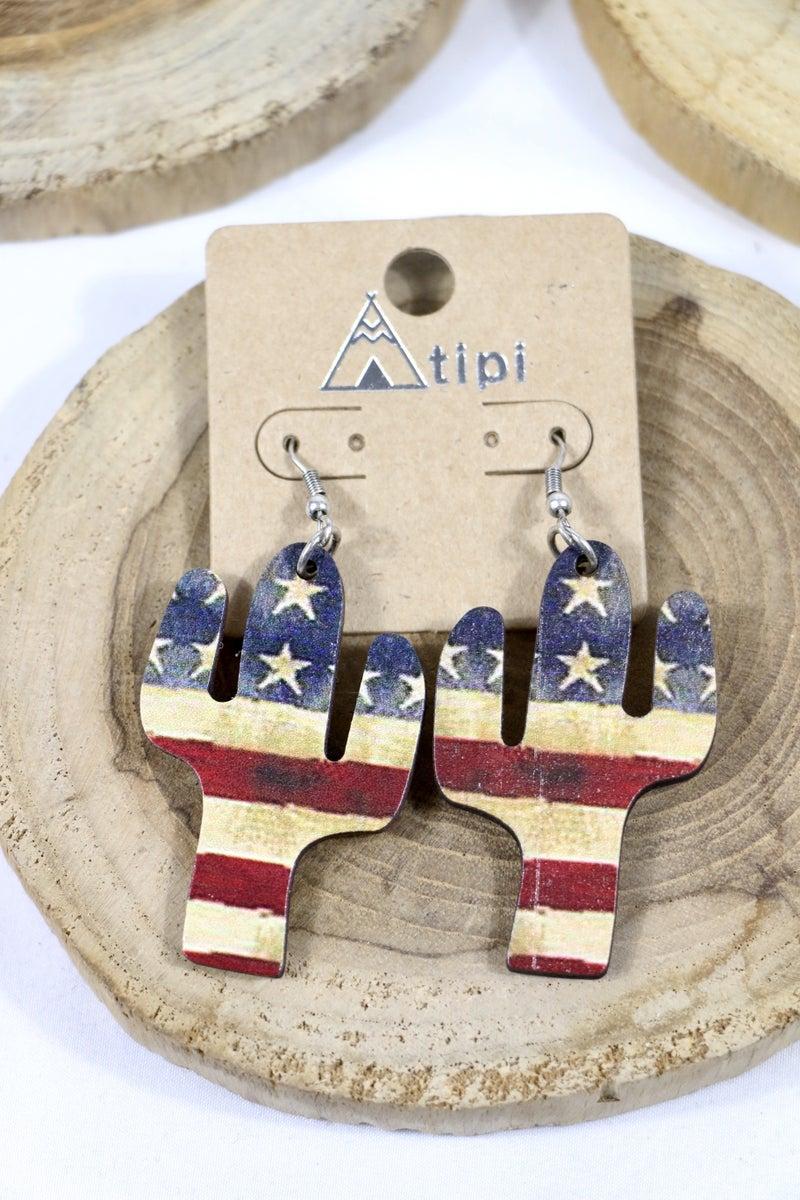 All American Wood Flag Cactus Earring