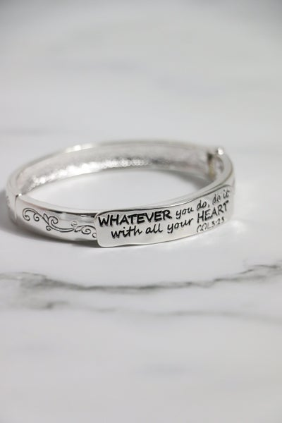 Whatever You Do, Do It With All Your Heart Silver Hinge Stretch Bracelet