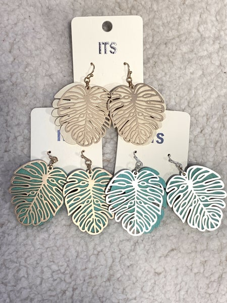 Fall Festival Double Layer Wood And Metal Leaf Earring In Multiple Colors
