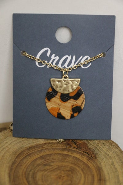 Half Moon and Leopard Cork Layered Disk Necklace