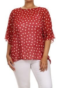 My Reason to Smile Polka Dot Flutter Sleeve Top in Multiple Colors - Sizes 12-20