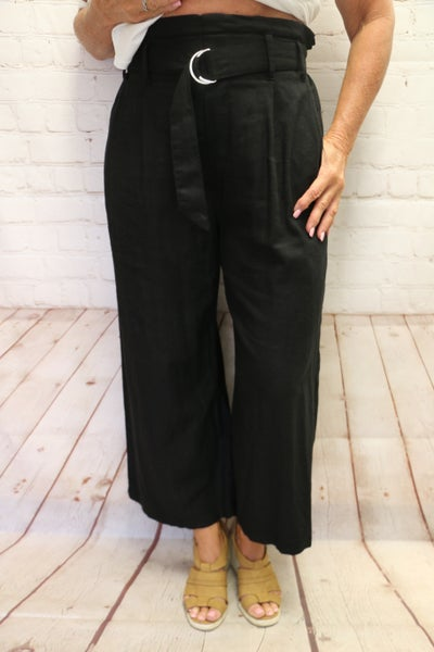 Taking My Time Wide Cropped Wide Leg Pant with Belt in Multiple Colors - Sizes 4-10