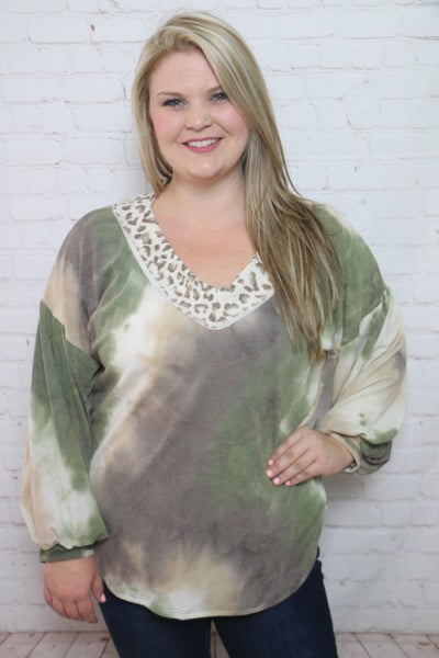 Remain the Same Olive and Mocha Tie Dye with Leopard Accents - Sizes 4-12