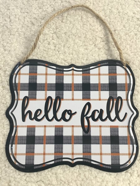 Hello Fall Metal Sign With Orange And Black Plaid