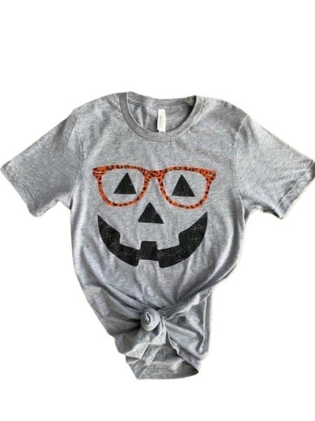 Spooky Pumpkin With Leopard Glasses Graphic Tee In Gray- Sizes 4-18
