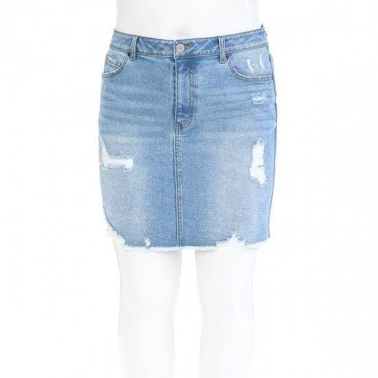 The Delilah Light Denim Distressed Skirt - Sizes 12-20