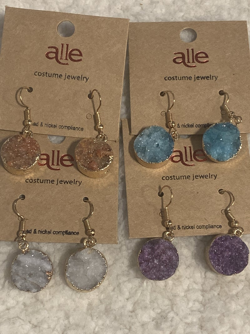 Shines So Bright Round Druzy Drop Earring In Multiple Colors