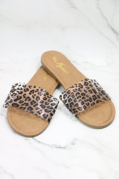 Wild Time Clear Leopard Slide On Flats- Sizes 6-11