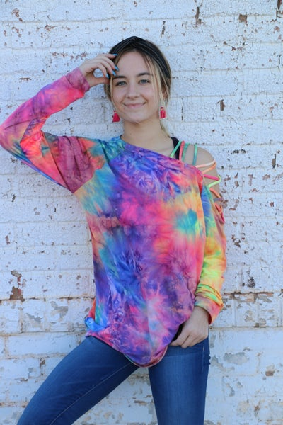 Don't You Know Tie Dye Top with Cutout Shoulder - Sizes 4-12
