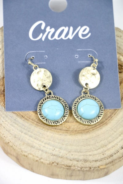On The Edge Double Circle Gold Earring With Turquoise Circle Stone