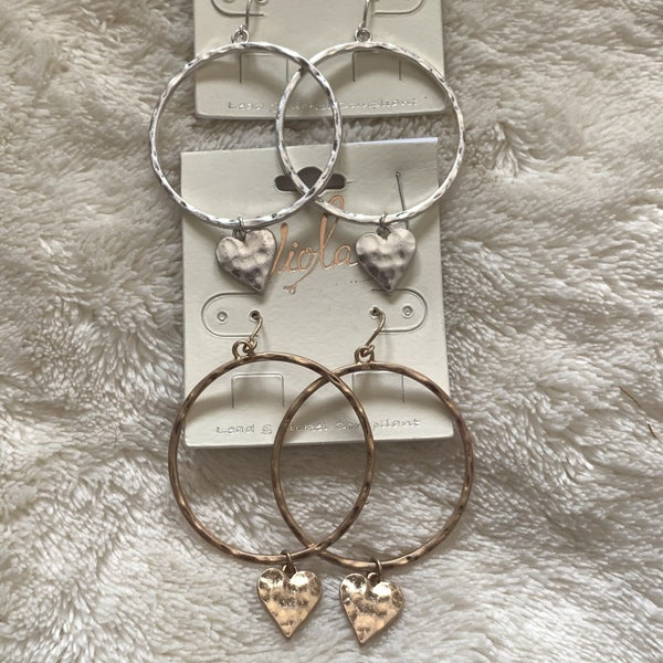 Hearts Aflutter Hammered Metal Hoop Earring With Heart Pendant In Multiple Colors