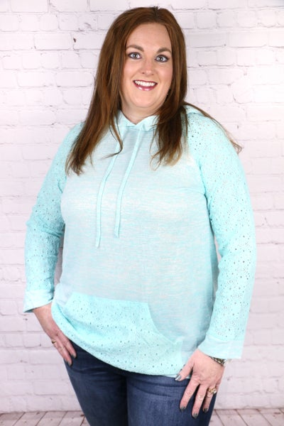 Good Timing Mint Hoodie With Lace Accents- Sizes 4-20