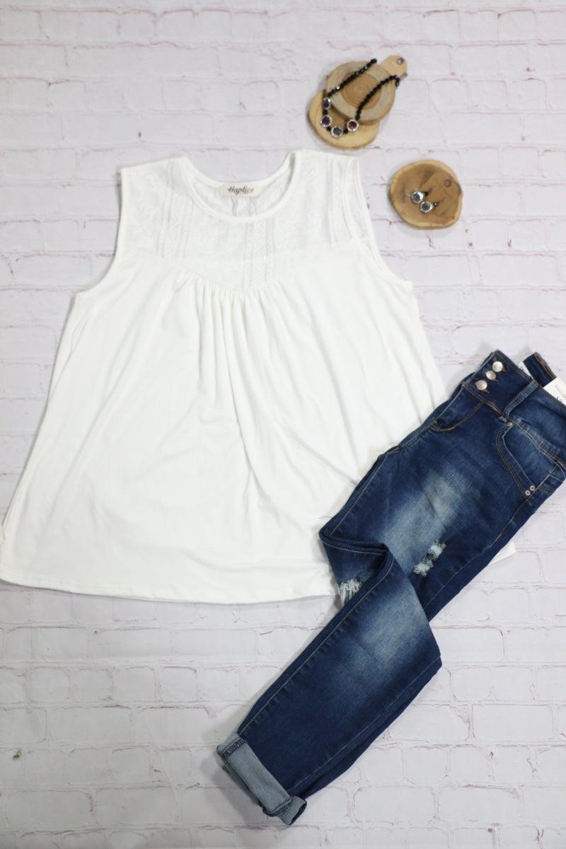 Make Life Easy Bohemian Lace Yoke Neck Top in White - Sizes 4-20