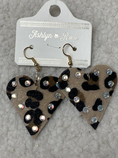 Oh My Heart Ponyhair Leopard Heart Earring With AB Crystal Detail